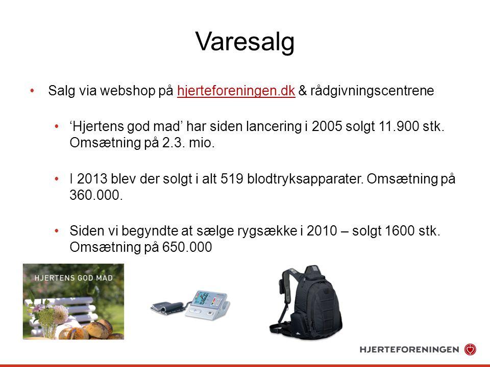 Varesalg Salg via webshop på hjerteforeningen.dk & rådgivningscentrene