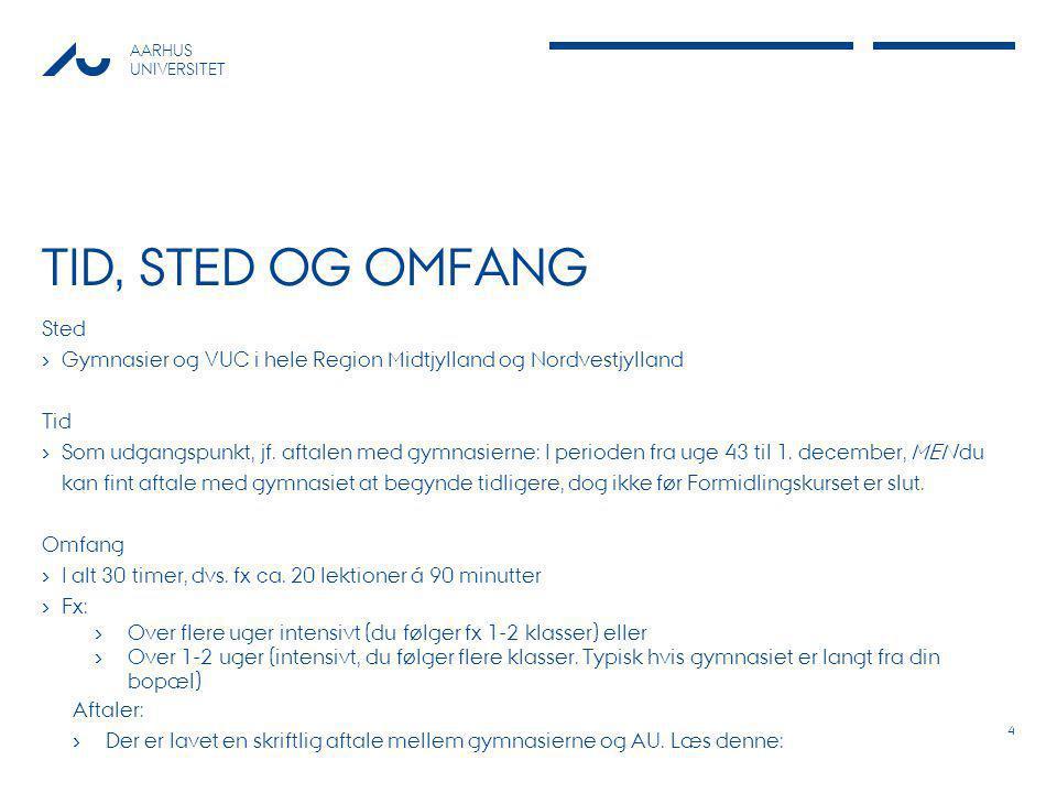TID, STED OG OMFANG Sted. Gymnasier og VUC i hele Region Midtjylland og Nordvestjylland. Tid.