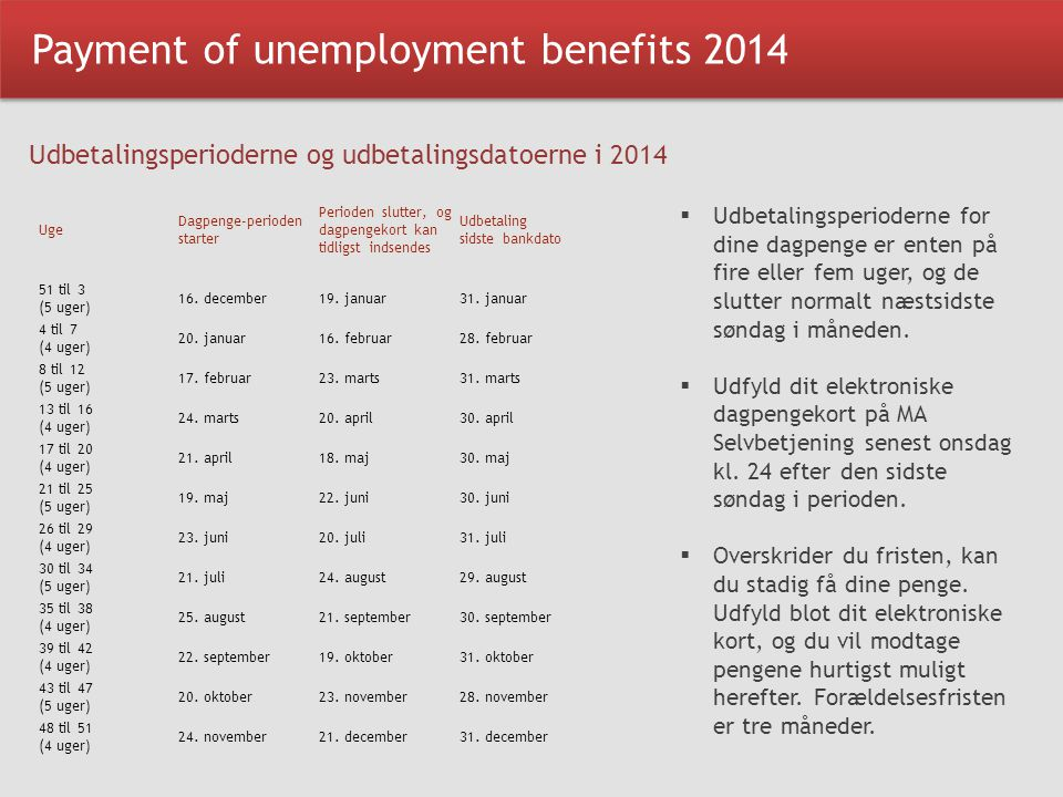 Payment of unemployment benefits 2014