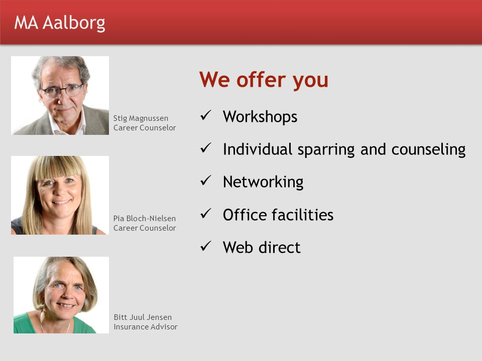 We offer you MA Aalborg Workshops Individual sparring and counseling