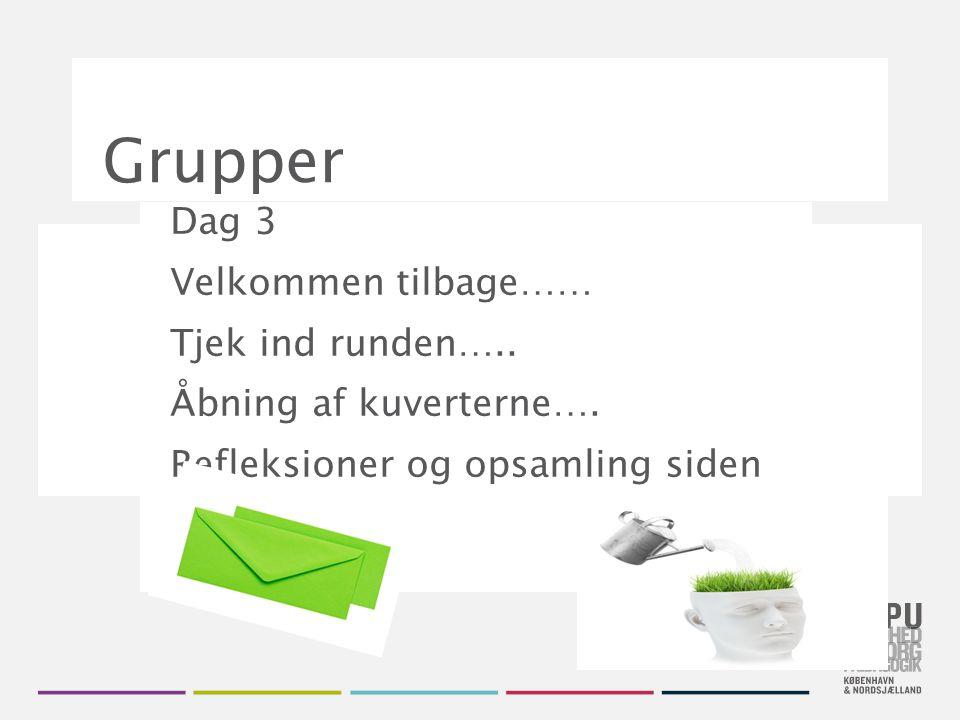 Grupper Dag 3 Velkommen tilbage…… Tjek ind runden…..