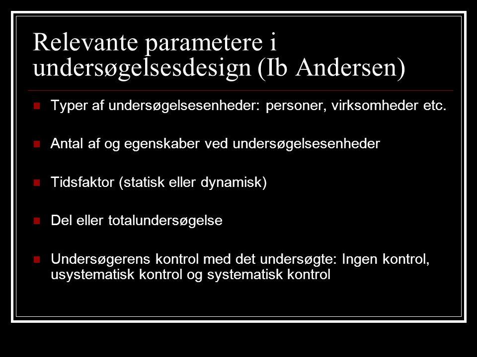 Relevante parametere i undersøgelsesdesign (Ib Andersen)