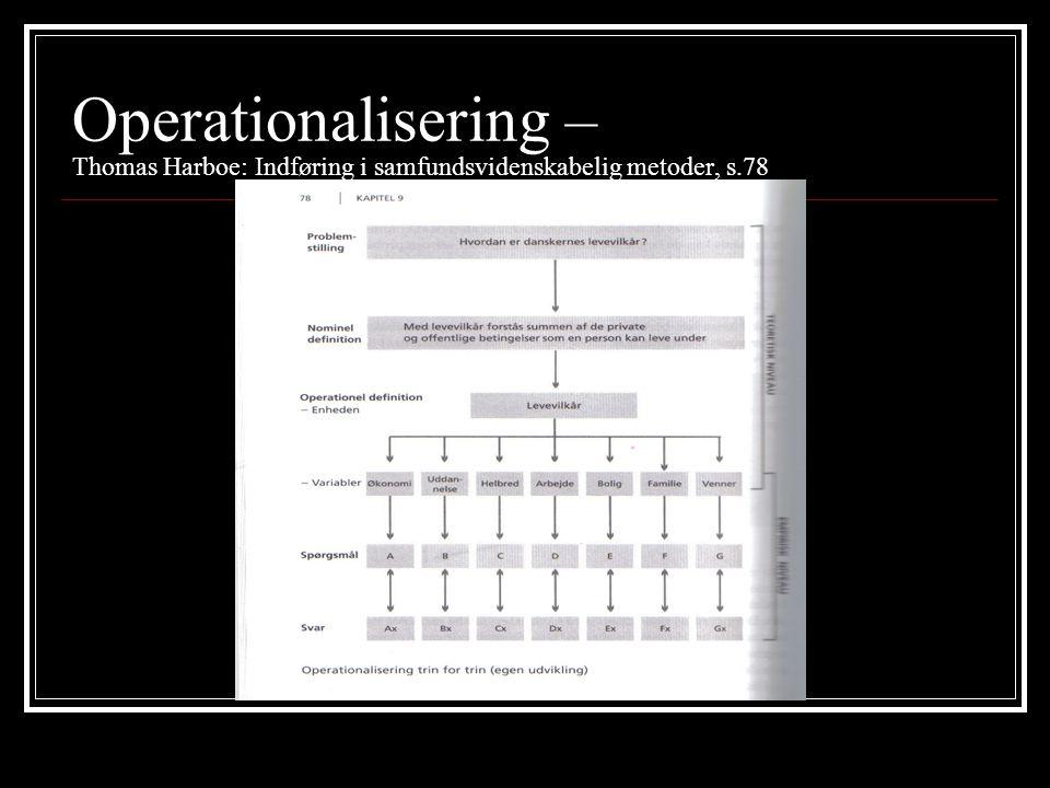 Operationalisering – Thomas Harboe: Indføring i samfundsvidenskabelig metoder, s.78