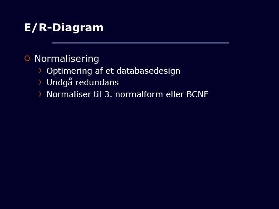 E/R-Diagram Normalisering Optimering af et databasedesign