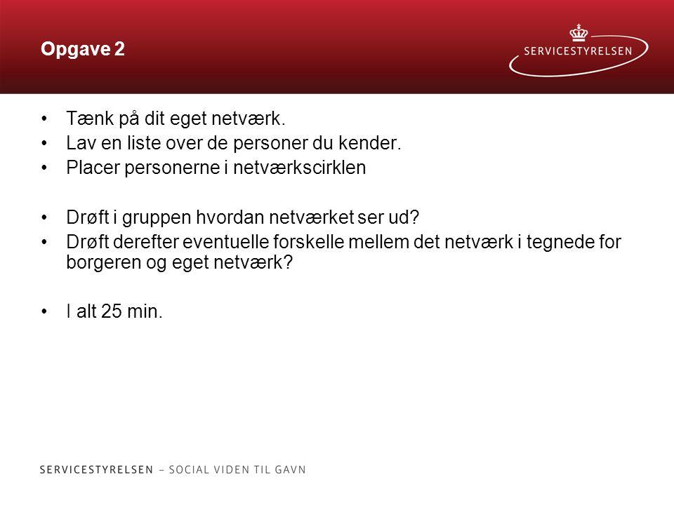 Opgave 2 Tænk på dit eget netværk. Lav en liste over de personer du kender. Placer personerne i netværkscirklen.