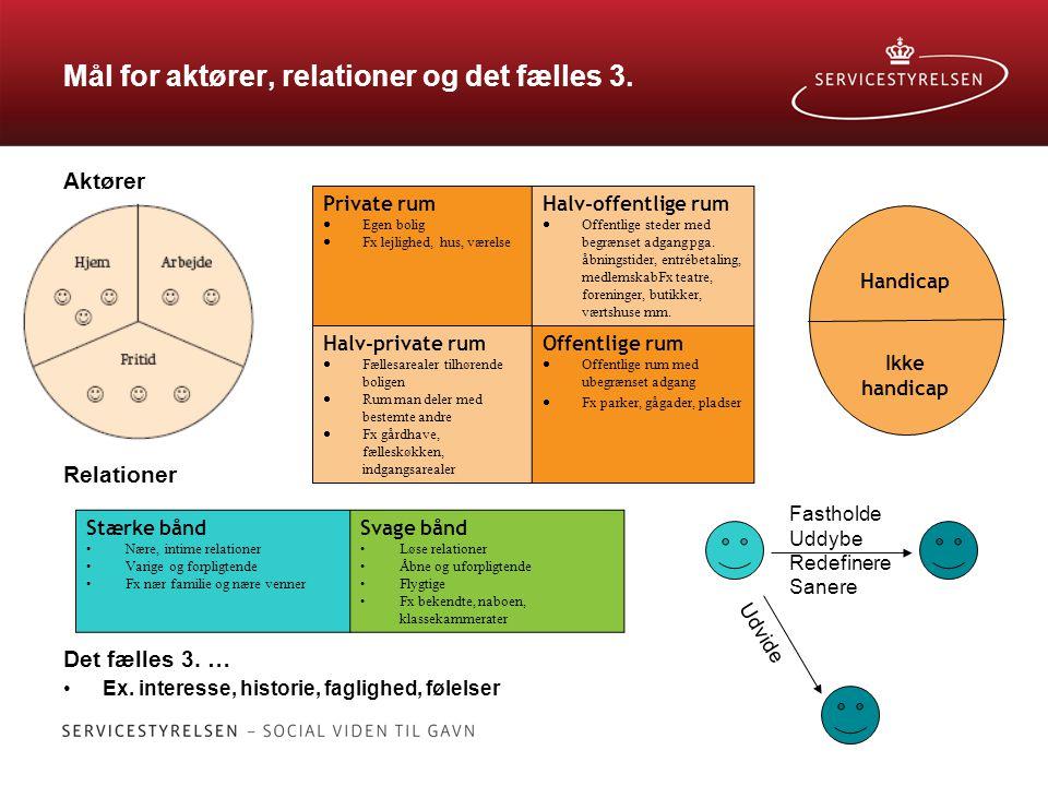Mål for aktører, relationer og det fælles 3.