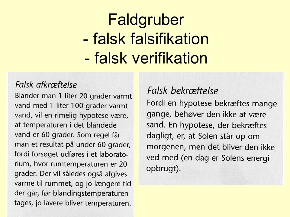 Faldgruber - falsk falsifikation - falsk verifikation