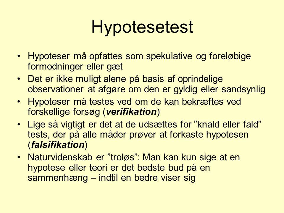 Hypotesetest Hypoteser må opfattes som spekulative og foreløbige formodninger eller gæt.