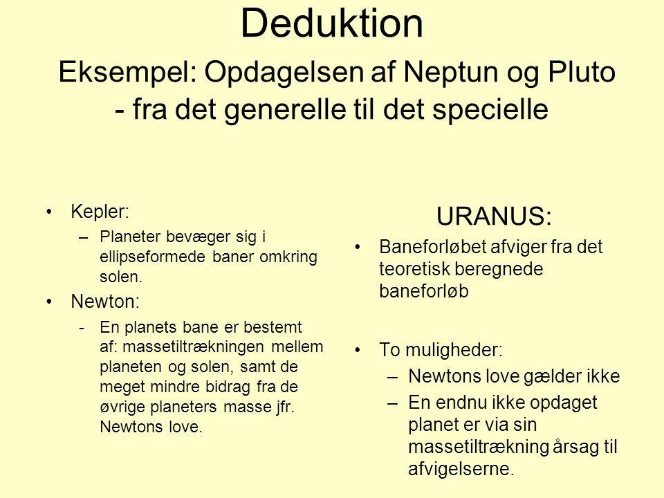 Deduktion Eksempel: Opdagelsen af Neptun og Pluto - fra det generelle til det specielle