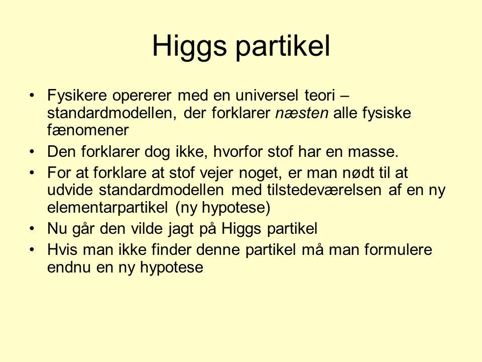 Higgs partikel Fysikere opererer med en universel teori – standardmodellen, der forklarer næsten alle fysiske fænomener.