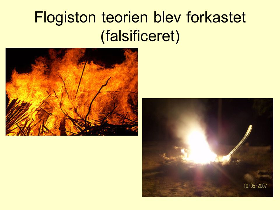 Flogiston teorien blev forkastet (falsificeret)
