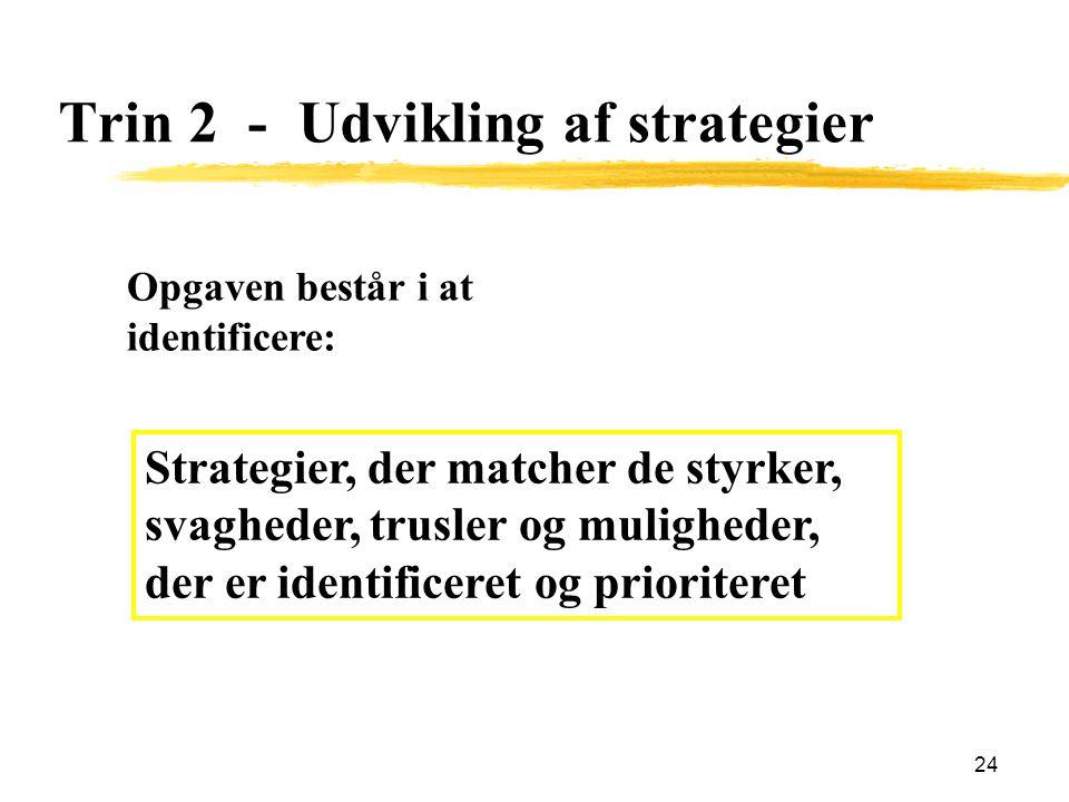 Trin 2 - Udvikling af strategier