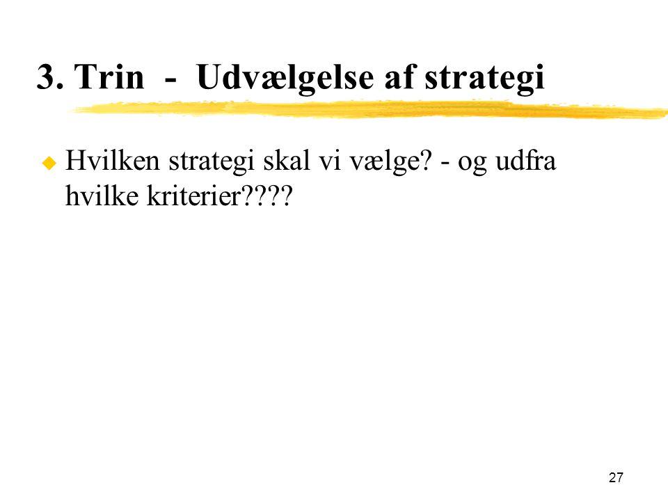 3. Trin - Udvælgelse af strategi