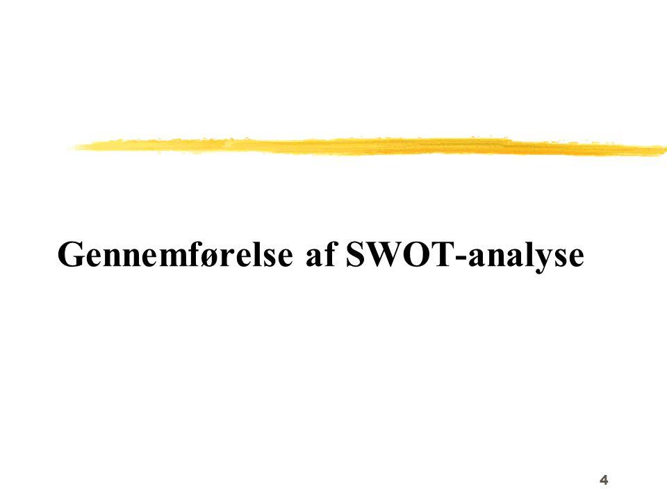 Gennemførelse af SWOT-analyse
