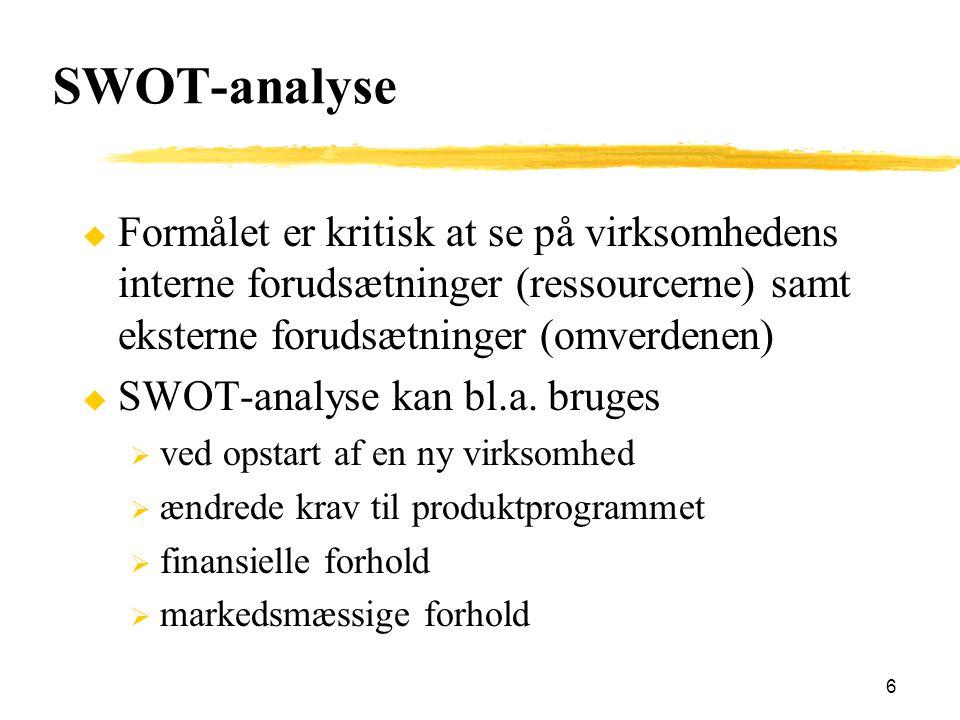 SWOT-analyse Formålet er kritisk at se på virksomhedens interne forudsætninger (ressourcerne) samt eksterne forudsætninger (omverdenen)