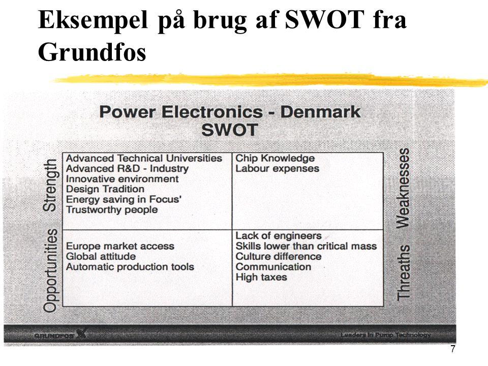 Eksempel på brug af SWOT fra Grundfos