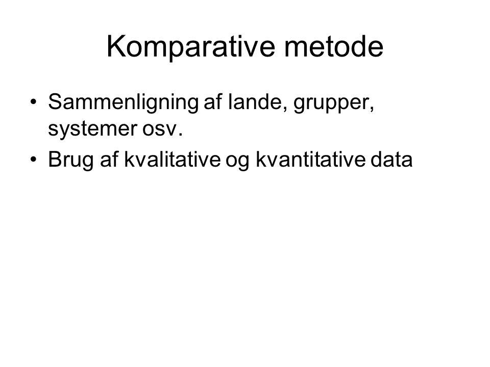 Komparative metode Sammenligning af lande, grupper, systemer osv.