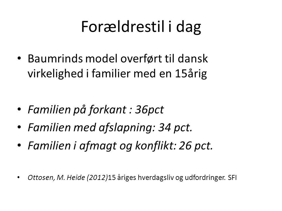 Forældrestil i dag Baumrinds model overført til dansk virkelighed i familier med en 15årig. Familien på forkant : 36pct.