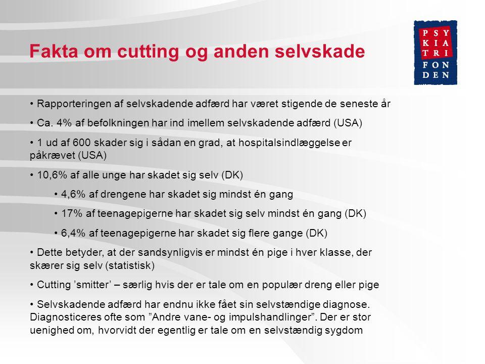 Fakta om cutting og anden selvskade