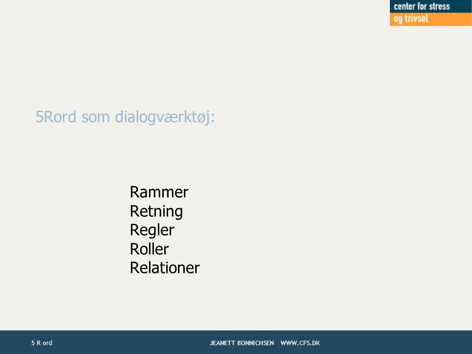 5Rord som dialogværktøj: Rammer Retning Regler Roller Relationer