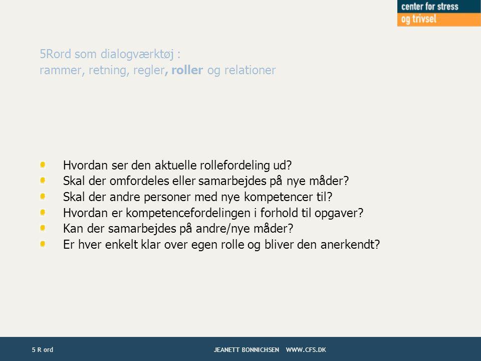 5Rord som dialogværktøj :
