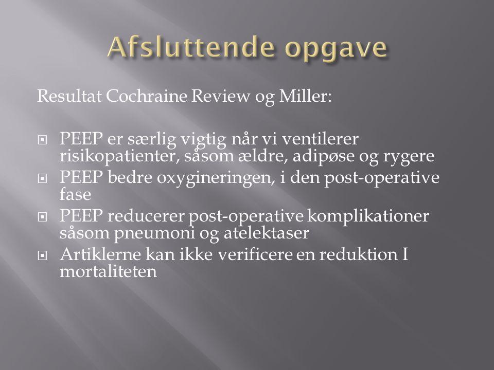 Afsluttende opgave Resultat Cochraine Review og Miller: