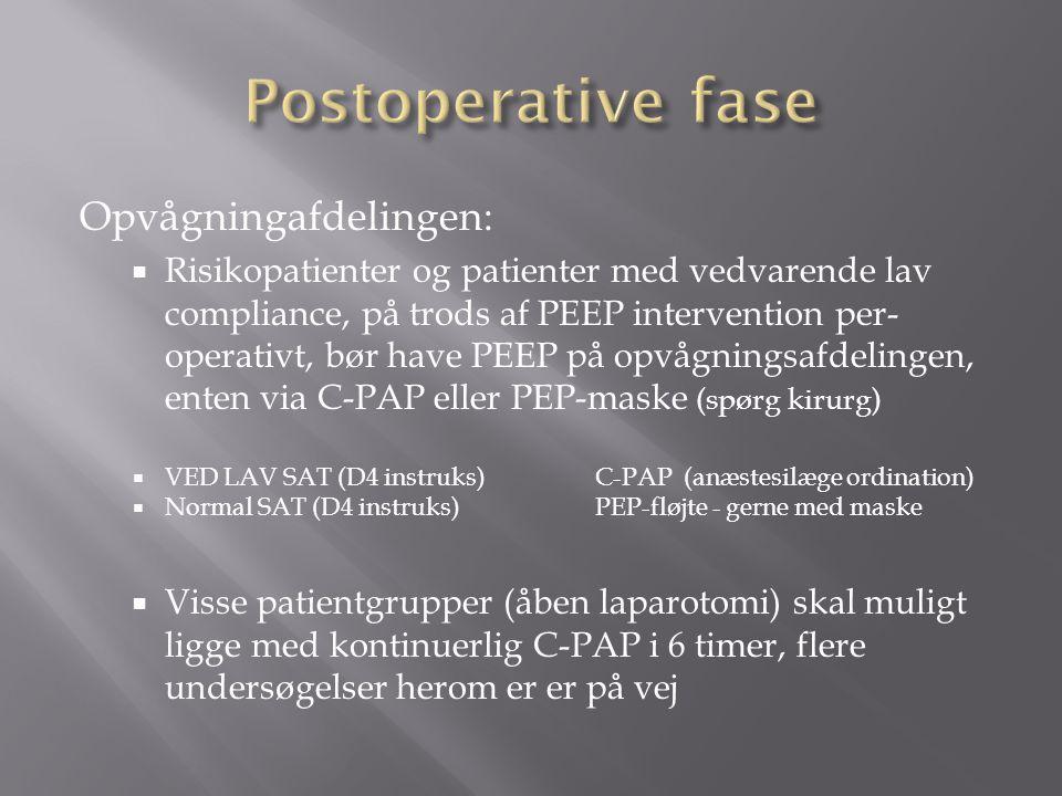 Postoperative fase Opvågningafdelingen: