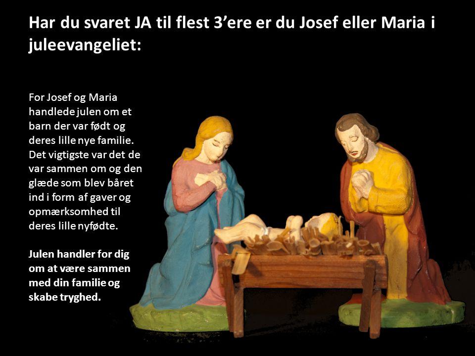 Har du svaret JA til flest 3'ere er du Josef eller Maria i juleevangeliet: