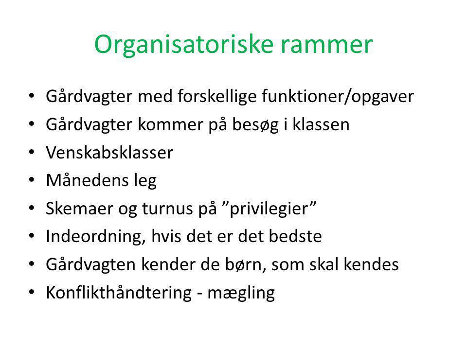 Organisatoriske rammer