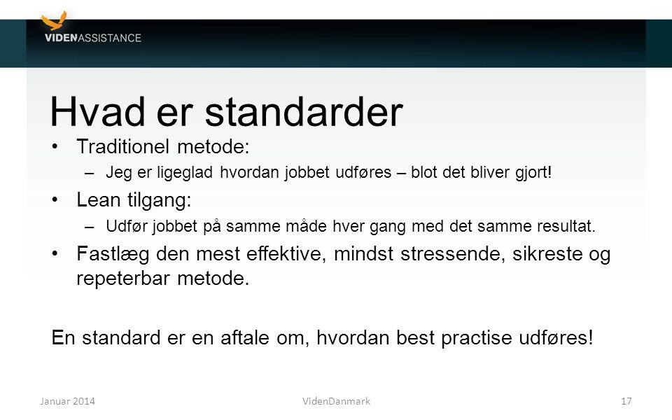 Hvad er standarder Traditionel metode: Lean tilgang: