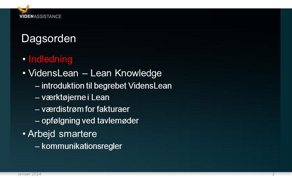 Dagsorden Indledning VidensLean – Lean Knowledge Arbejd smartere