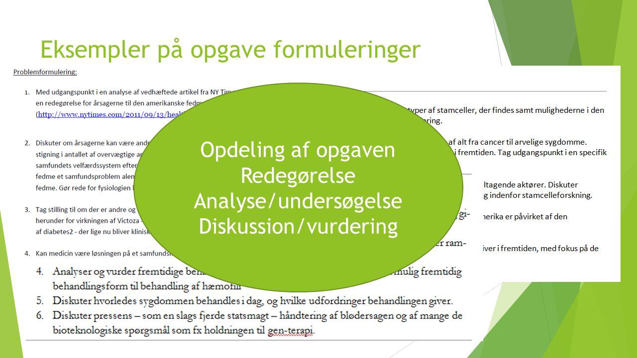 Eksempler på opgave formuleringer