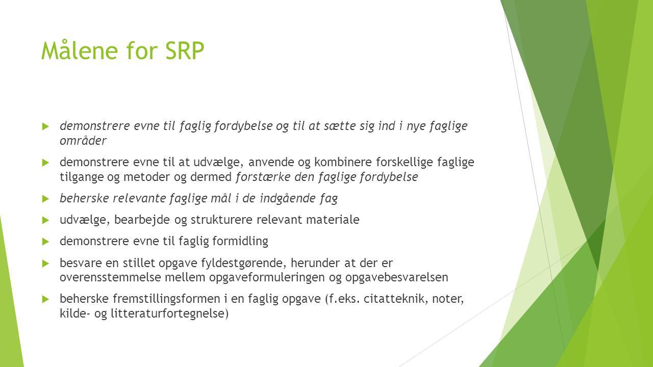 Målene for SRP demonstrere evne til faglig fordybelse og til at sætte sig ind i nye faglige områder.