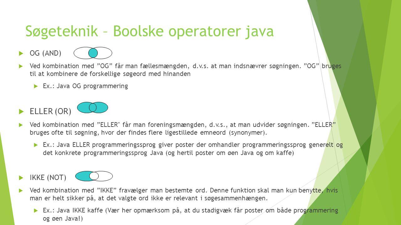 Søgeteknik – Boolske operatorer java
