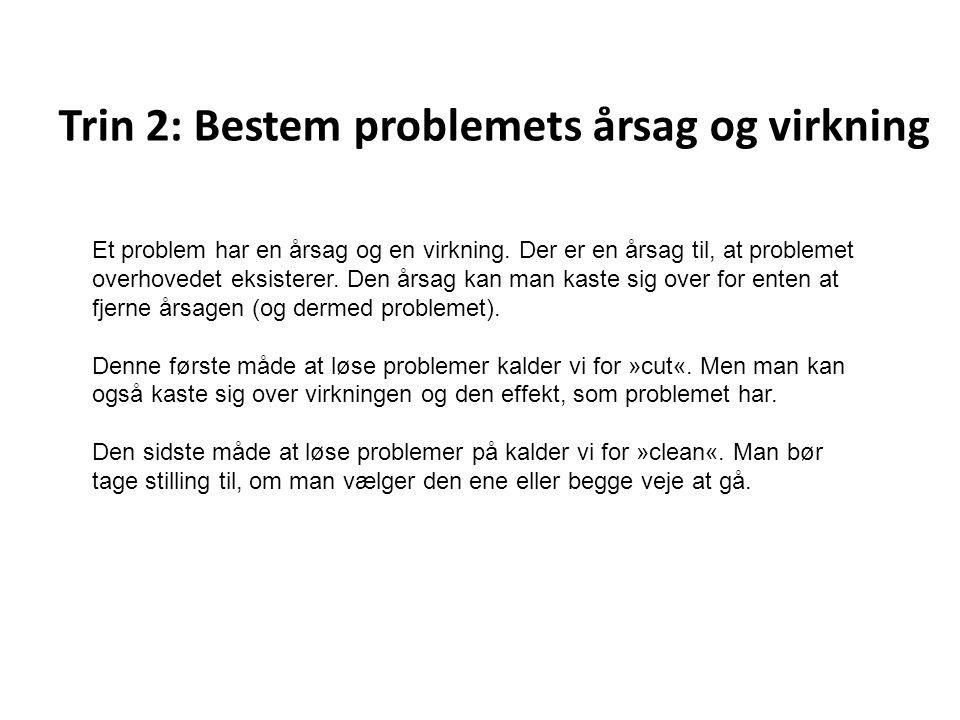 Trin 2: Bestem problemets årsag og virkning