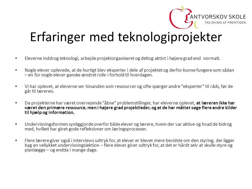 Erfaringer med teknologiprojekter