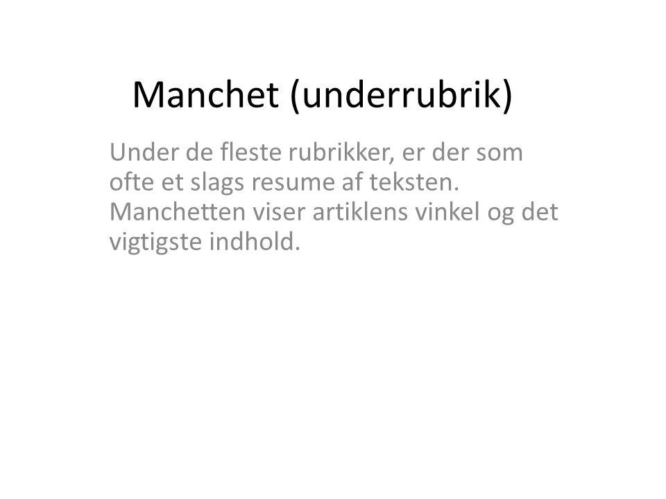 Manchet (underrubrik)