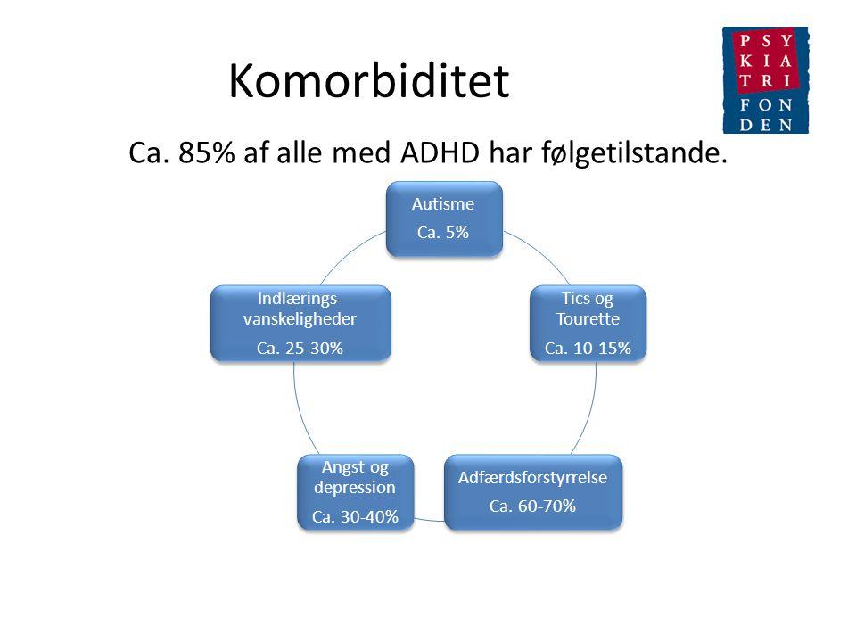 Komorbiditet Ca. 85% af alle med ADHD har følgetilstande. Autisme