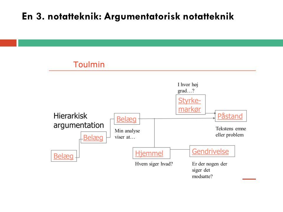 En 3. notatteknik: Argumentatorisk notatteknik