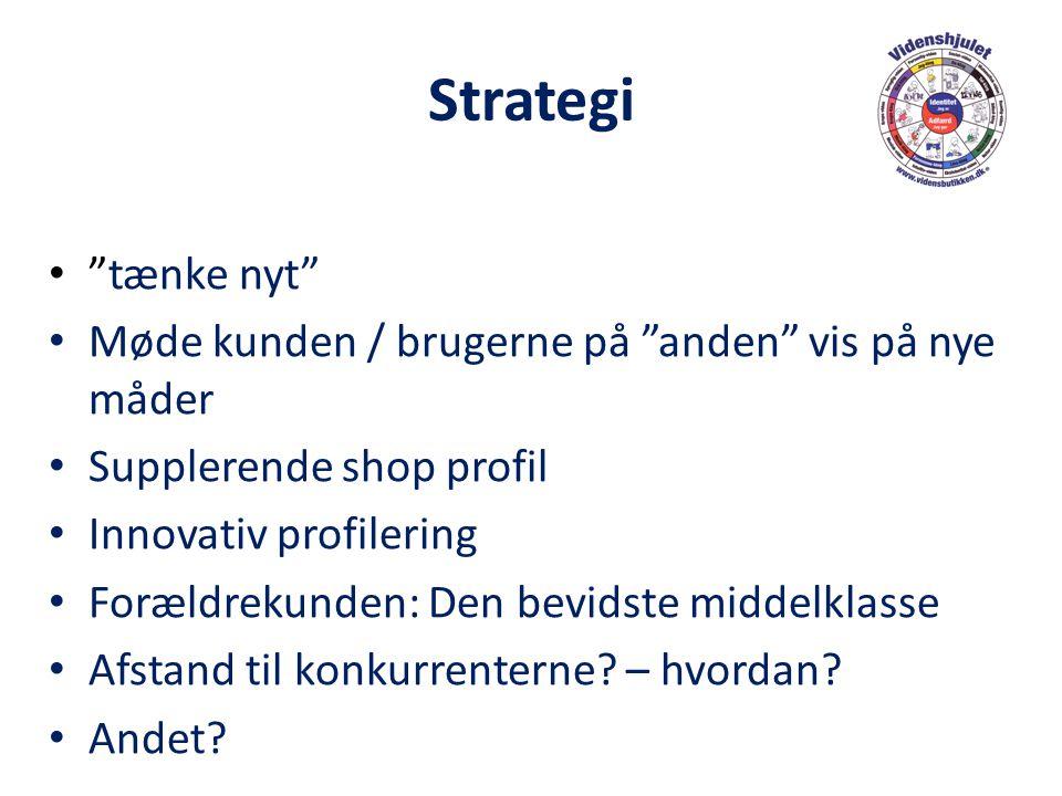 Strategi tænke nyt Møde kunden / brugerne på anden vis på nye måder. Supplerende shop profil.