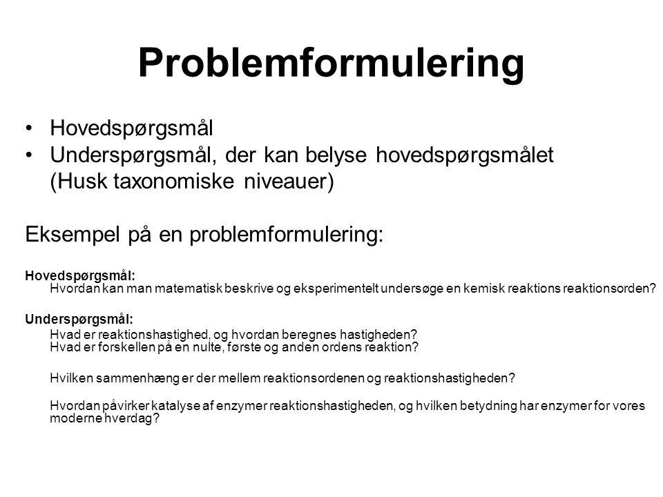 Problemformulering Hovedspørgsmål