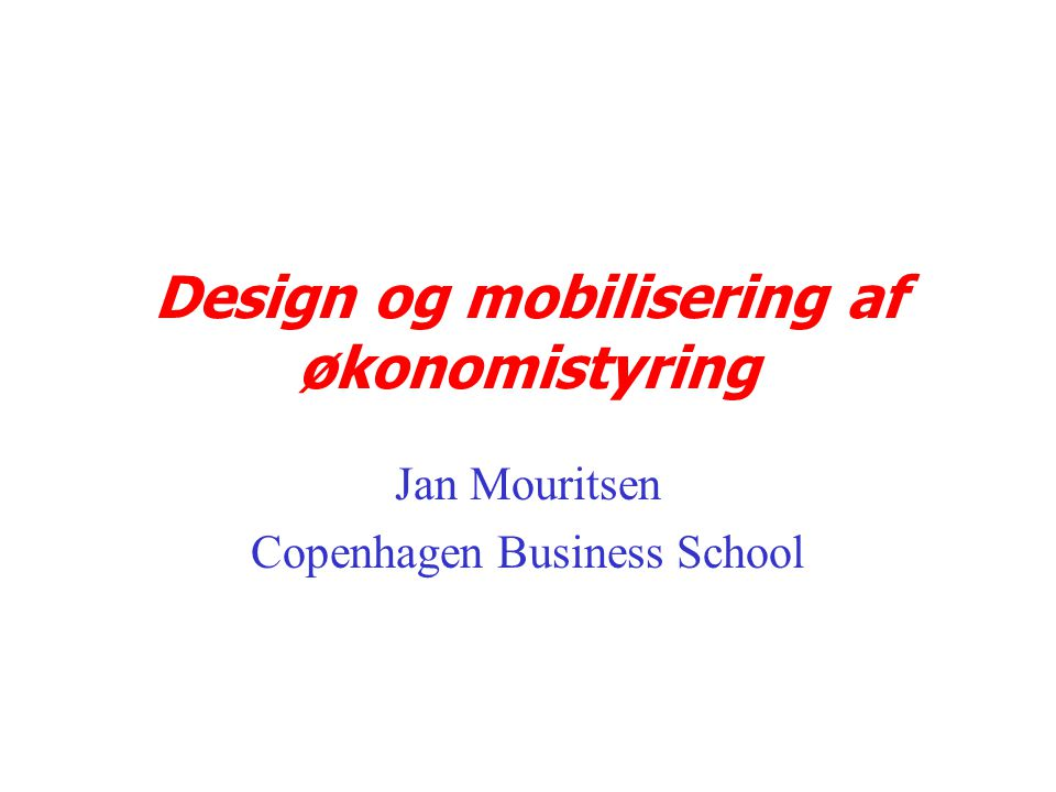 Design og mobilisering af økonomistyring