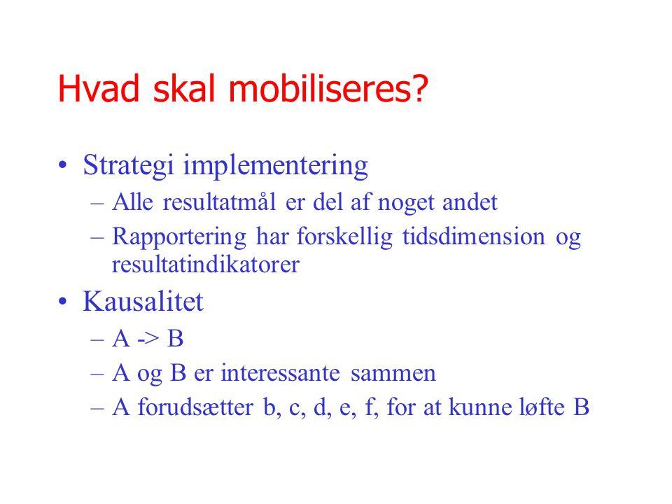 Hvad skal mobiliseres Strategi implementering Kausalitet