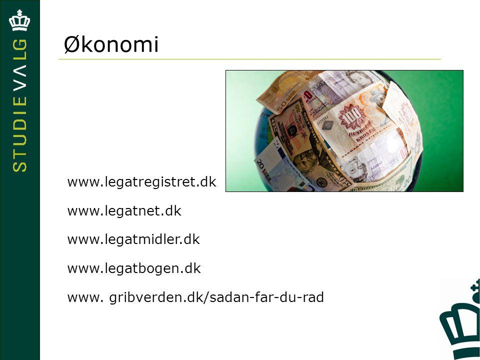Økonomi www.legatregistret.dk www.legatnet.dk www.legatmidler.dk