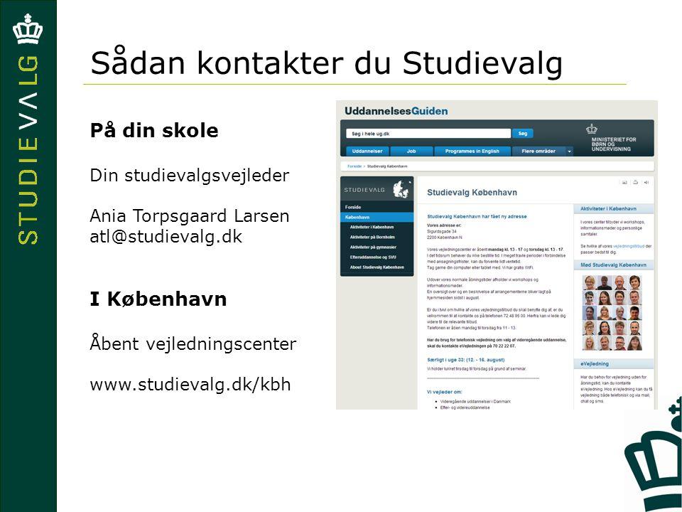 Sådan kontakter du Studievalg