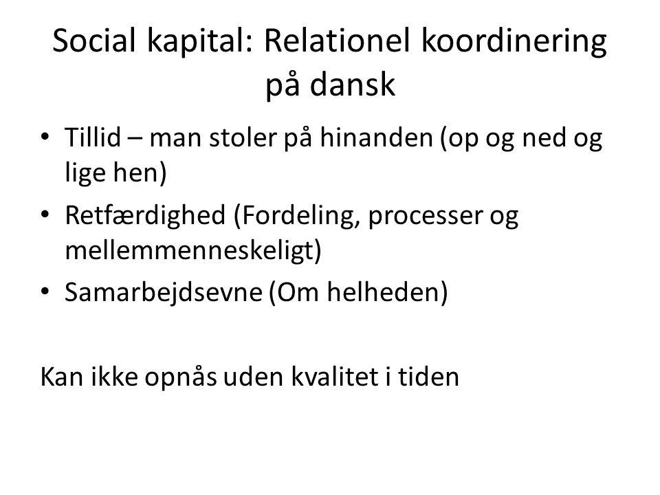 Social kapital: Relationel koordinering på dansk