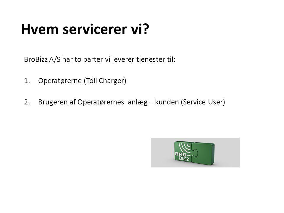 Hvem servicerer vi BroBizz A/S har to parter vi leverer tjenester til: Operatørerne (Toll Charger)