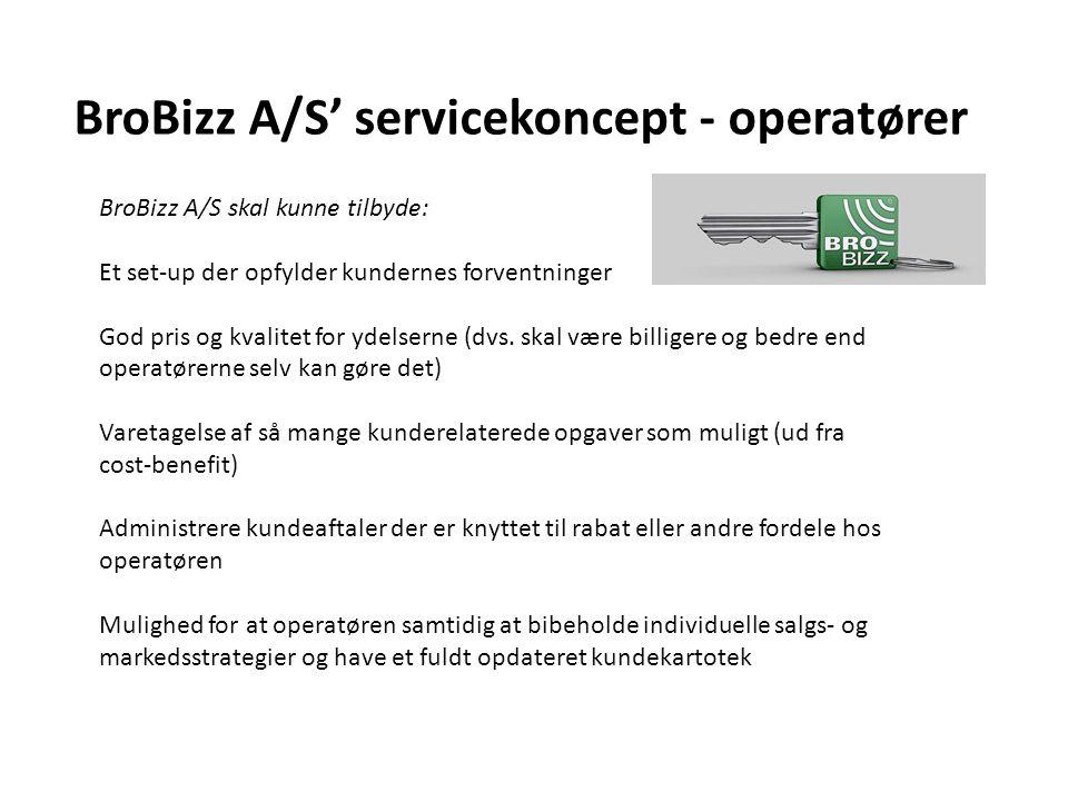 BroBizz A/S' servicekoncept - operatører