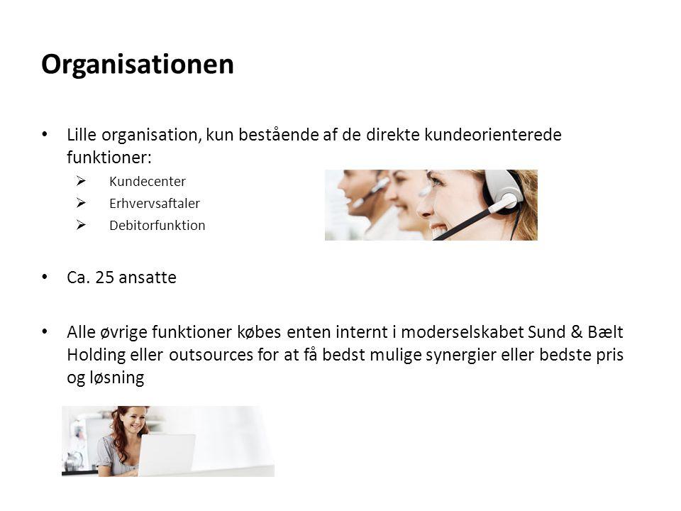 Organisationen Lille organisation, kun bestående af de direkte kundeorienterede funktioner: Kundecenter.