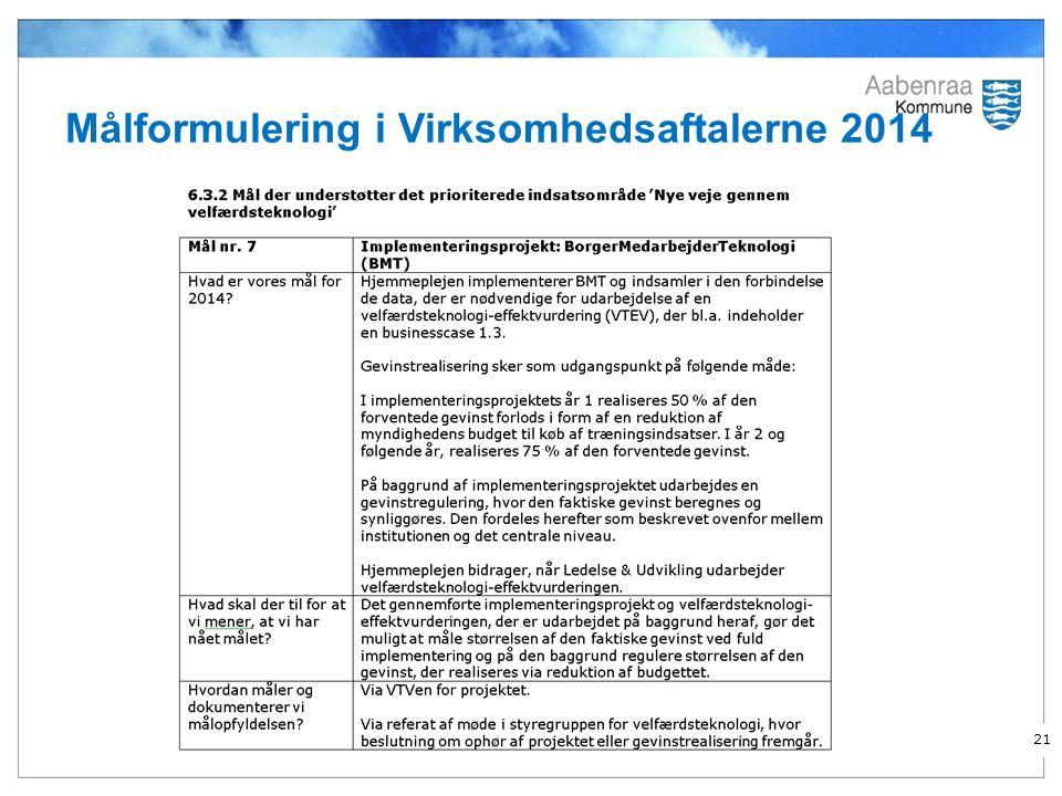 Målformulering i Virksomhedsaftalerne 2014